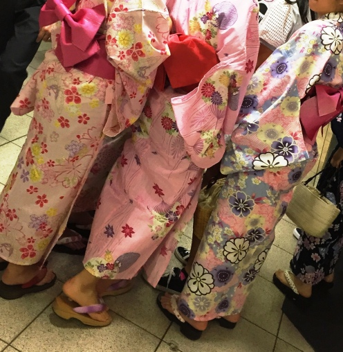 young girls in summer yukata